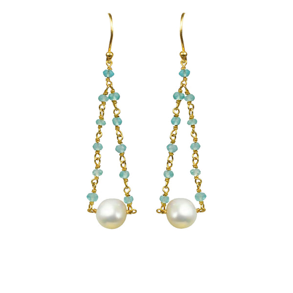 Aquamarine Pearl Pendulum Vermeil Earrings