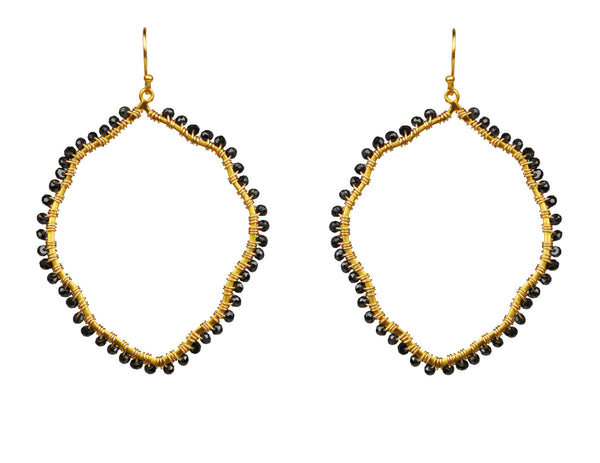 Black Spinel Organic Hoop Vermeil Earrings