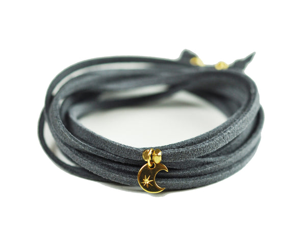 Crescent Moon Grey Suede Choker