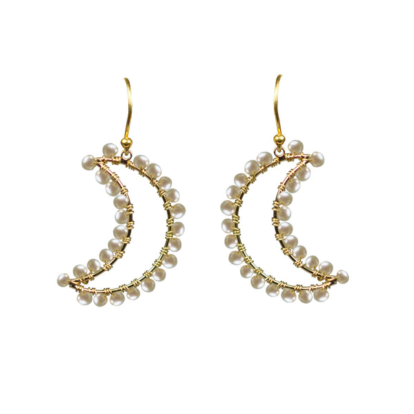 Freshwater Pearl Crescent Moon Vermeil Earrings