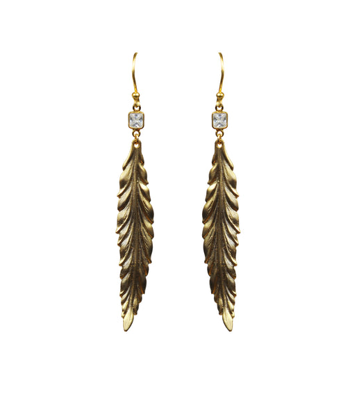 White Topaz Gold Leaf Vermeil Earrings