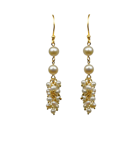 Double Pearl With Cluster Vermeil Earrings