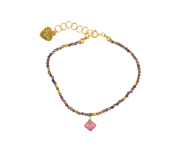 Garnet and Tourmaline Drop Delicate Bracelet
