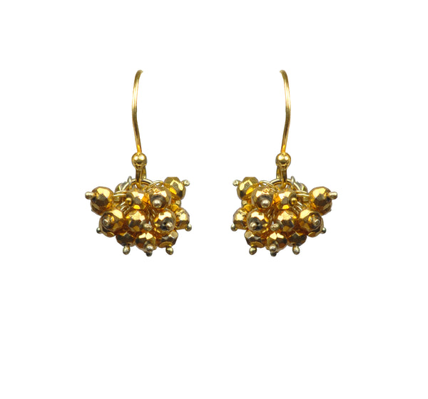 Gold Pyrite Cluster Vermeil Earrings