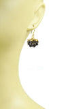 Black Spinel Gold Nugget Cluster Vermeil Earrings