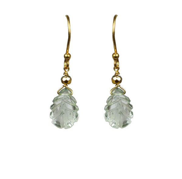 Green Amethyst Carved Leaf Vermeil Earrings