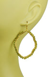 Green Tourmaline Organic Hoop Vermeil Earrings