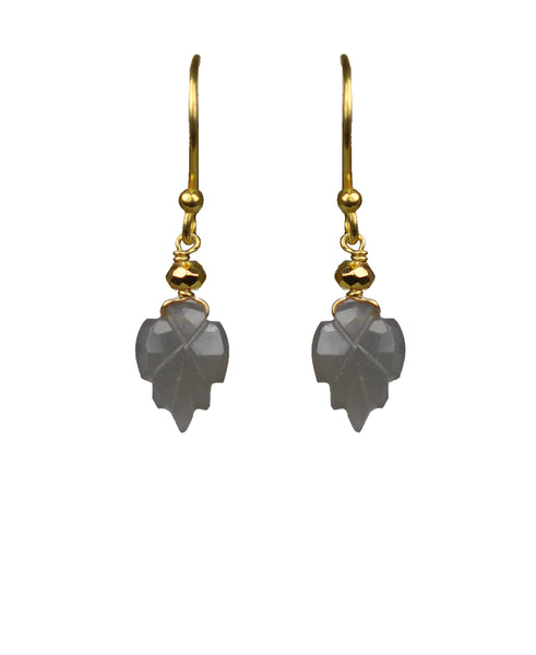 Grey Moonstone Carved Leaf Vermeil Earrings