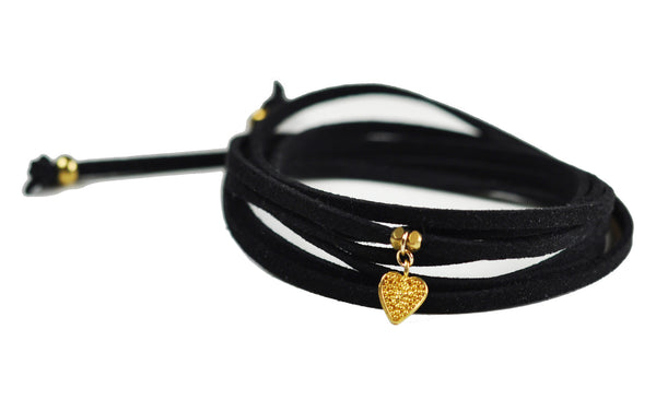 Sweet Heart Black Suede Choker