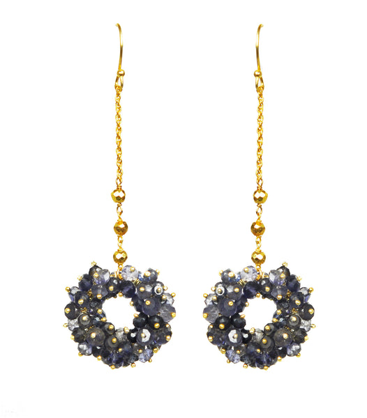 Iolite Cluster Linear Vermeil Earrings