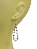 Lapis Lazuli Pearl Pendulum Vermeil Earrings