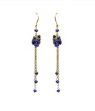 Lapis Lazuli Cluster Shoulder Duster Vermeil Earrings