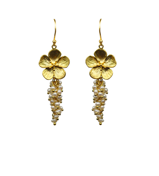 Flower With Pearl Cluster Vermeil Earrings