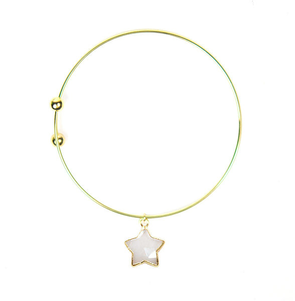 Moonstone Star Charm Adjustable Bangle