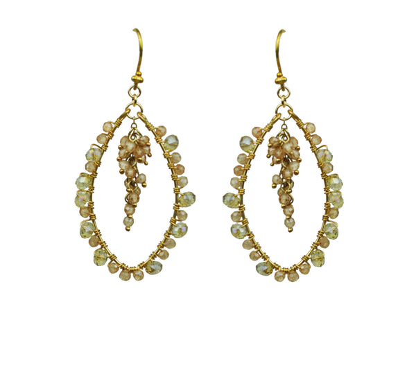 Peach Tourmaline Cluster Hoop Vermeil Earrings