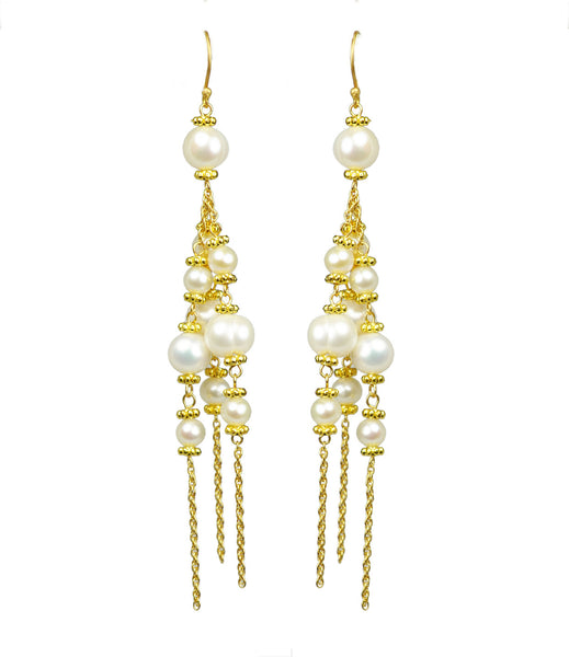 Pearl Chandelier Vermeil Earrings