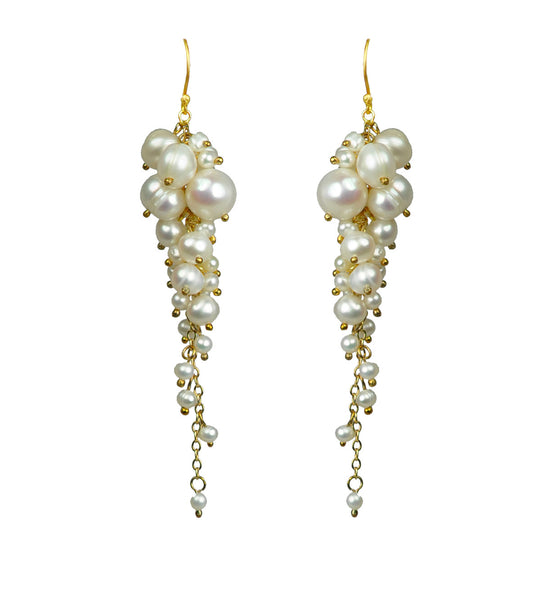 Cascading Pearl Cluster Earrings