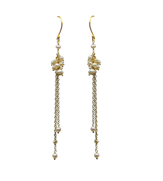 Pearl Cluster Shoulder Duster Vermeil Earrings