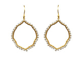 Pearl Organic Hoop Vermeil Earrings