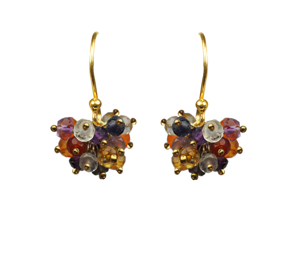 Mixed Sapphire Cluster Vermeil Earrings