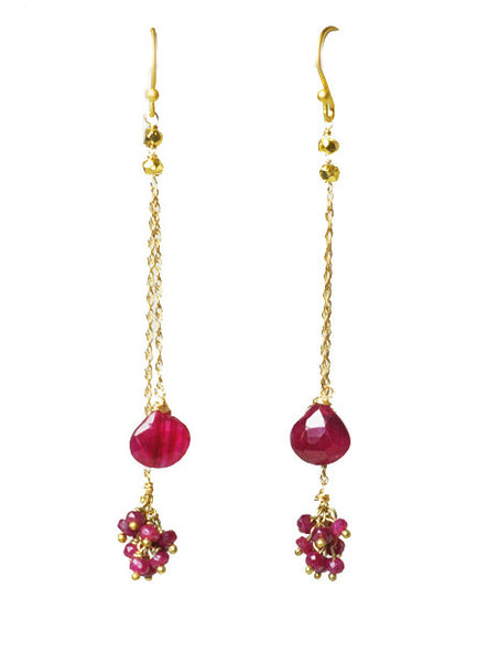 Ruby Cluster Vermeil Earrings