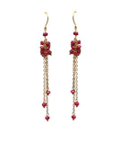 Ruby Cluster Shoulder Duster Vermeil Earrings