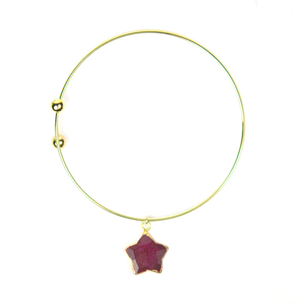 Ruby Star Charm Adjustable Bangle