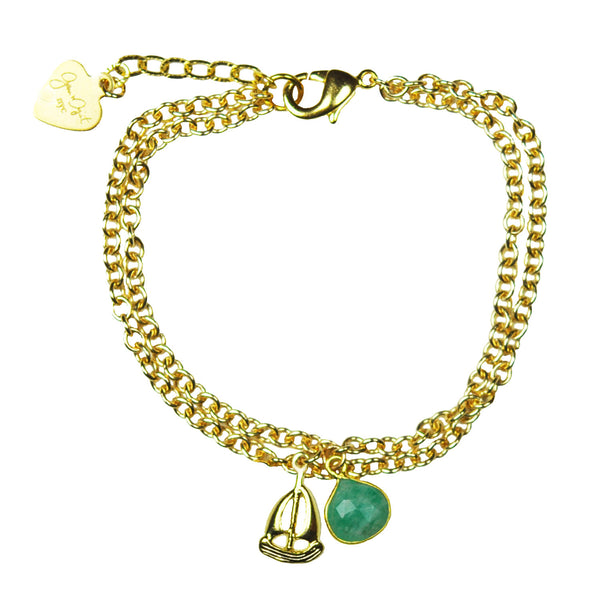Nautical Sailboat Amazonite Vermeil Bracelet