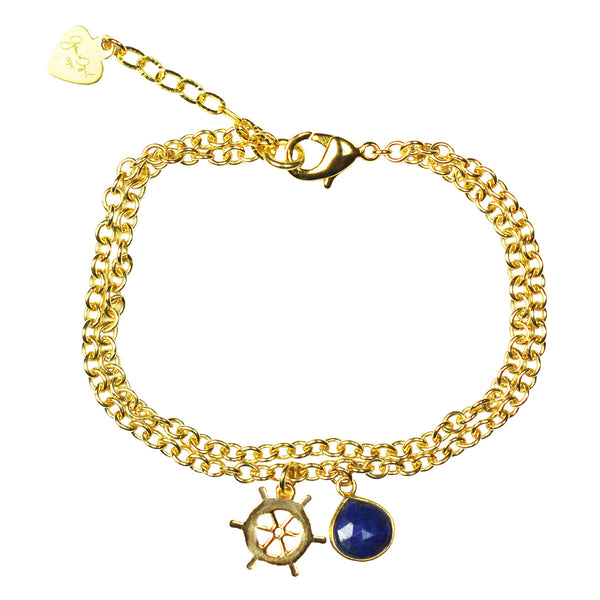 Nautical Ship Wheel Lapis Lazuli Vermeil Bracelet