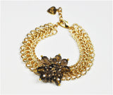 Smoky Topaz Cluster Linked Bracelet