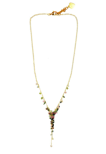 Mixed Tourmaline Cascading Cluster Necklace
