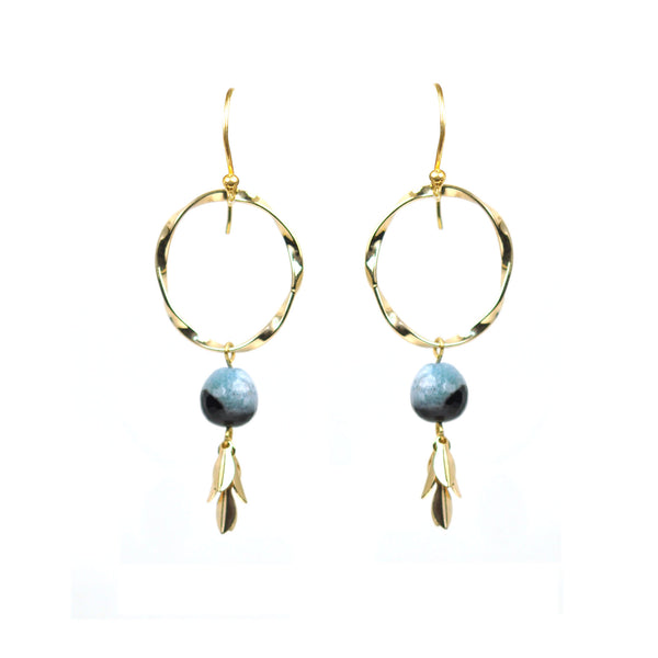Twisted Circle Aqua Blue Agate Drop Vermeil Earrings