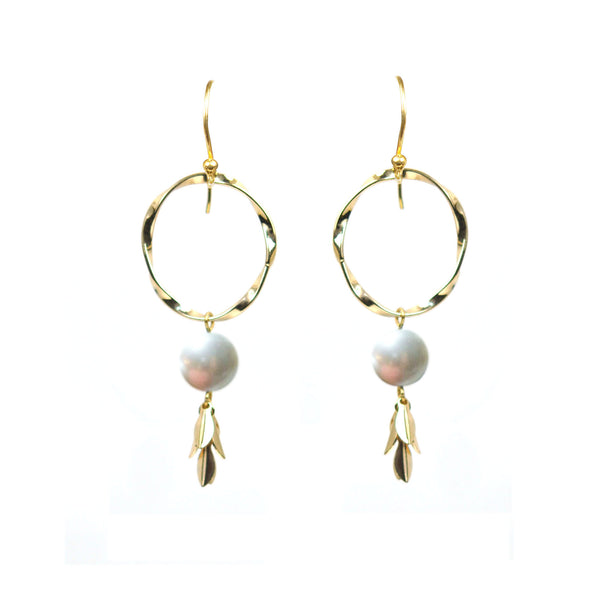 Twisted Circle Pearl Drop Vermeil Earrings