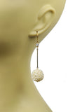 White Topaz With Pearl Cluster Ball Earrings