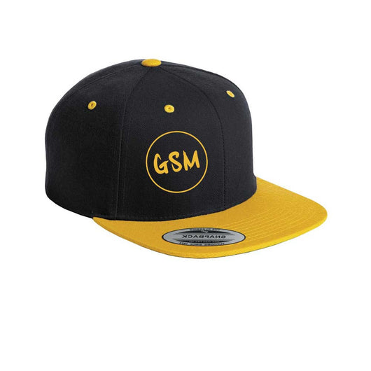 GSM Flat Bill Snapback Cap - Black/Gold