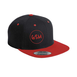 GSM Flat Bill Snapback Cap - Black/Red