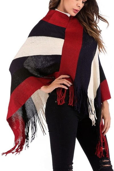 Poncho Style Stripe Sweater* - Addict Apparel