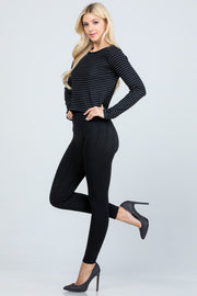 High Waist Full Length Leggings with Ribbed Waist* - Addict Apparel