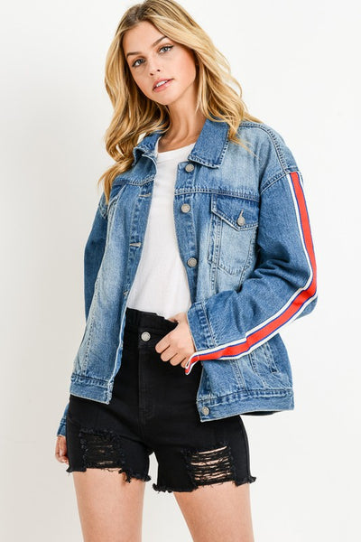Stripe Sleeve Taped Detail Over-sized Jean Jacket* - Addict Apparel