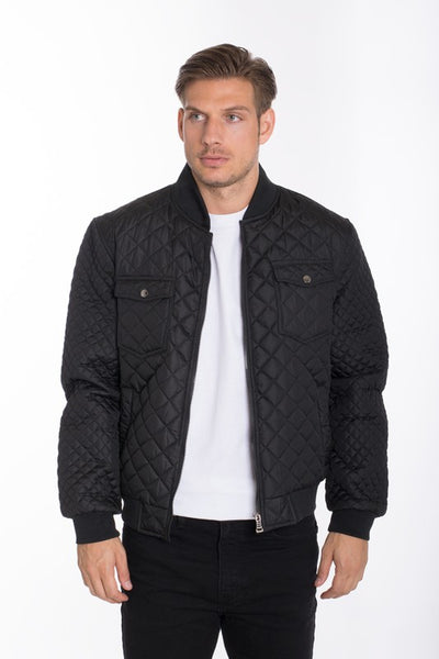 QUILTED DOUBLE POCKET BOMBER JACKET* - Addict Apparel