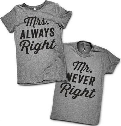 Mrs Always Right + Mr Never Right T-Shirt Set - Addict Apparel