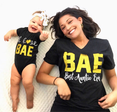 BAE Best Auntie Ever + I Love BAE T-Shirt Set* - Addict Apparel
