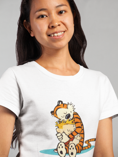 Calvin and Hobbes Hugging T-Shirt - Addict Apparel