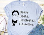 Dwight Schrute (The Office TV Show) Bear Beets Battlestar Galactica T-Shirt