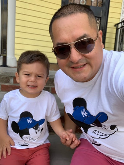 Serious Yankee Fan Mickey (2pc) T-Shirt Set - Daddy & Me / Mommy & Me - Addict Apparel