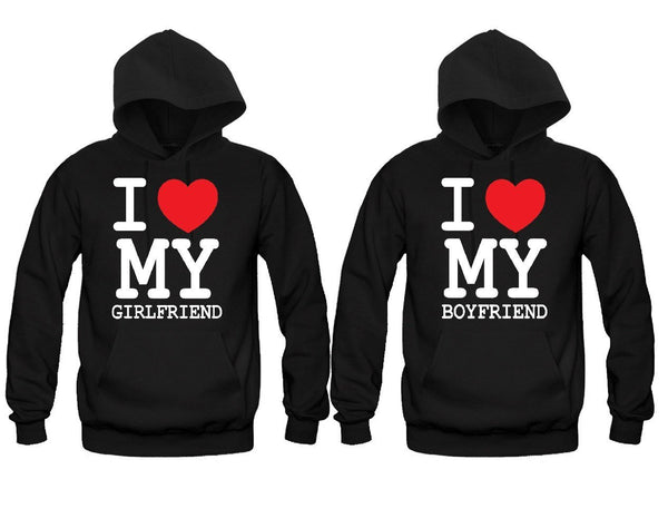 I Love My Girlfriend + I Love My Boyfriend Matching Sweatshirts/Hoodies