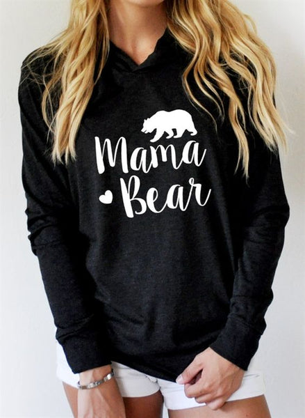Mama Bear Long Sleeve Hooded T-Shirt