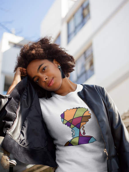 Natural Hair Colorblock Fashion T-Shirt