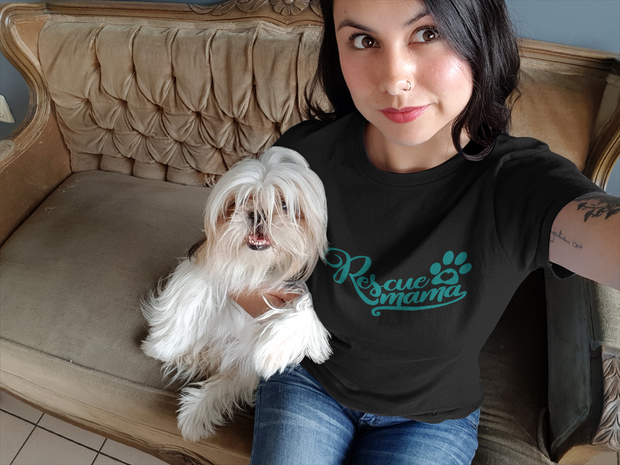 Rescue Mama T-Shirt (Teal Text) - Addict Apparel