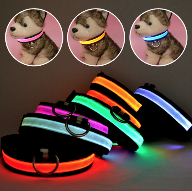 HOT SALE Nylon LED Night Safety Dog Collars